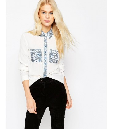exAS Blouse With Cutwork Embroidery XL