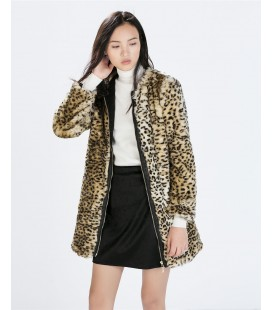 ZARA Basic Płaszcz futerko S
