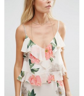 Top exAS Floral Ruffle M