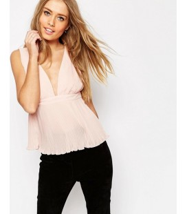 Top exAS Pleated Plunge Neck L