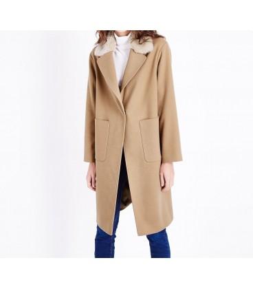 Płaszcz damski NL Fur Collar Crombie L 0908007/40