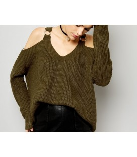 Sweter NL Split Neck Wide M
