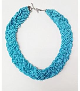 Naszyjnik kolia niebieska z koralików 04009